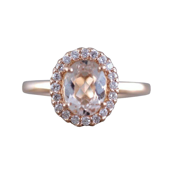 Oval morganite and diamond ring - 1