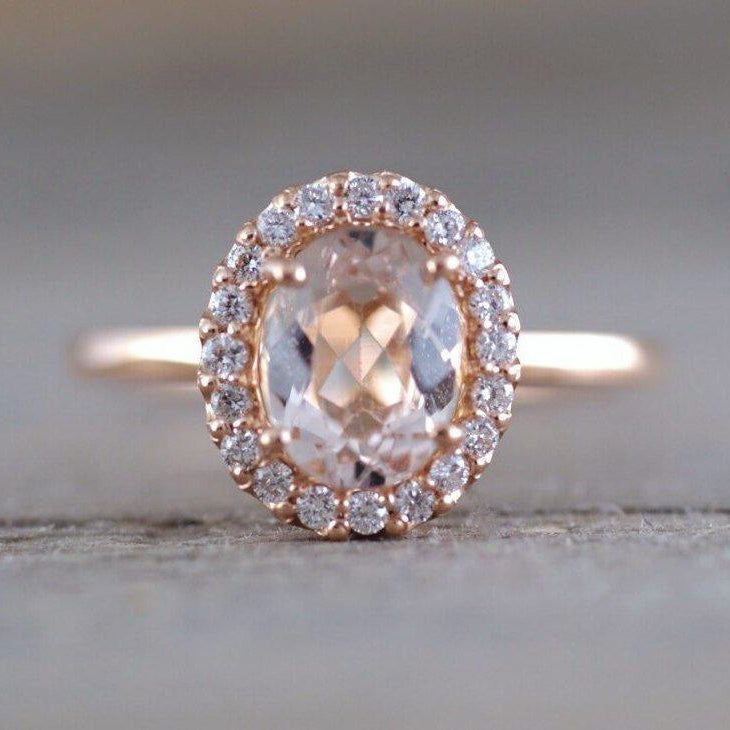 Oval morganite and diamond ring - 2