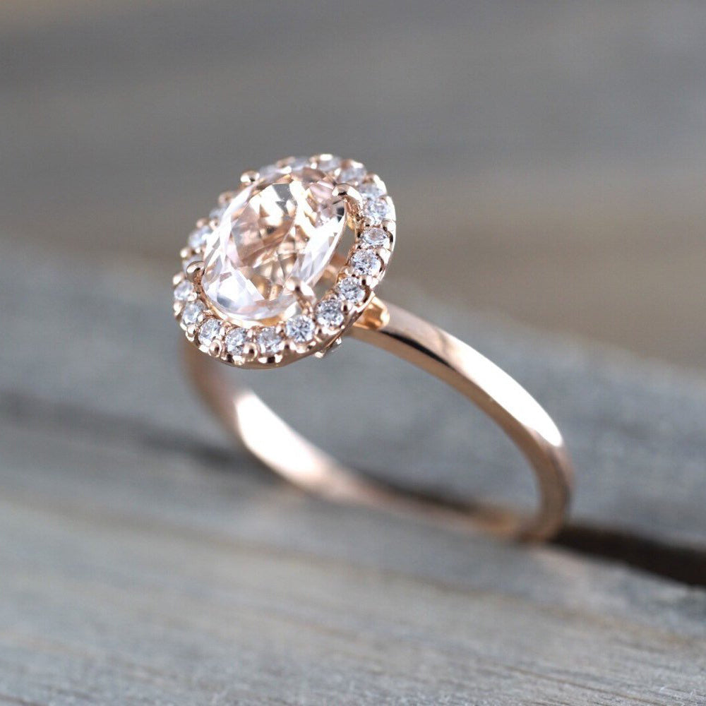 Oval morganite and diamond ring - 6