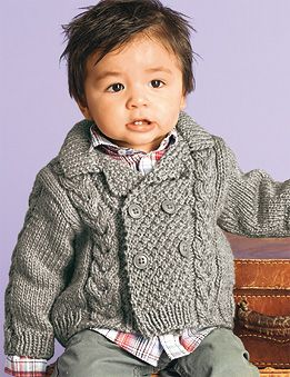 Baby boy grey knitted sweater - 1