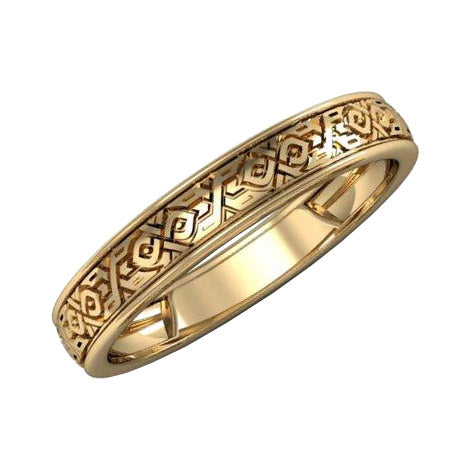 Gold wedding ring with ornament - 1