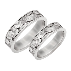Leaf scratched wedding bands - 1