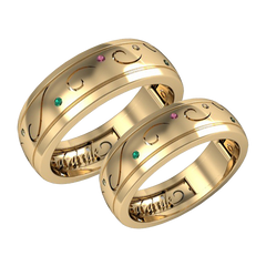 A pair of Emerald and Sapphire wedding bands - 1