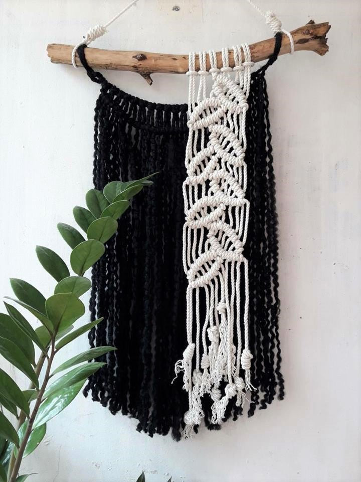 Black and white macrame wall hanging - 1
