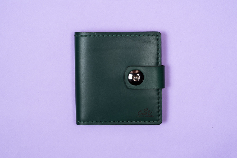 Green leather wallet - 5