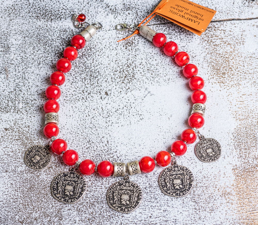 Red glass bead necklace - 1