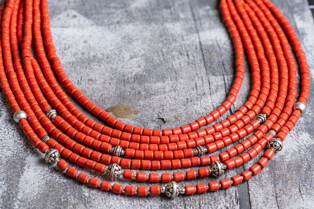 7 rows natural clay beaded necklace - 2