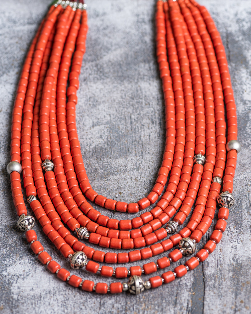 7 rows natural clay beaded necklace - 1