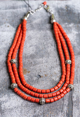 3 rows ethnic natural clay necklace - 1