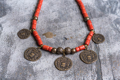 Tribal ethnic natural clay necklace - 1