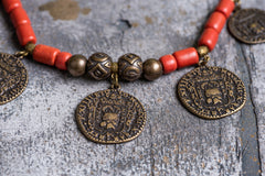 Tribal ethnic natural clay necklace - 2