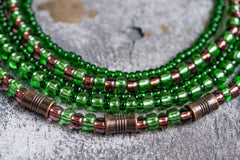 Green glass beaded necklace - 2