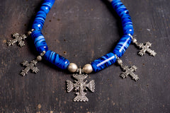 Ethnic blue glass beaded necklace with cross - 1
