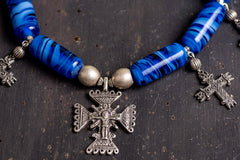 Ethnic blue glass beaded necklace with cross - 2