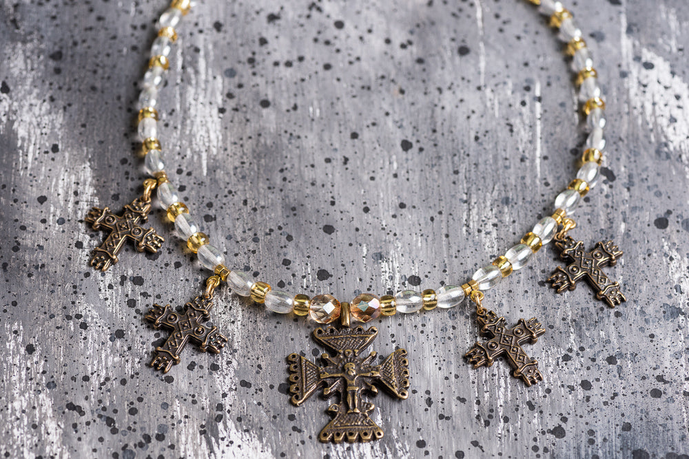 Ethnic glass bead necklace with crosses - 1