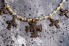 Ethnic glass bead necklace with crosses - 2