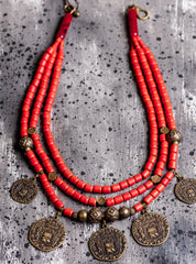 Ethnic coin clay necklace - 1