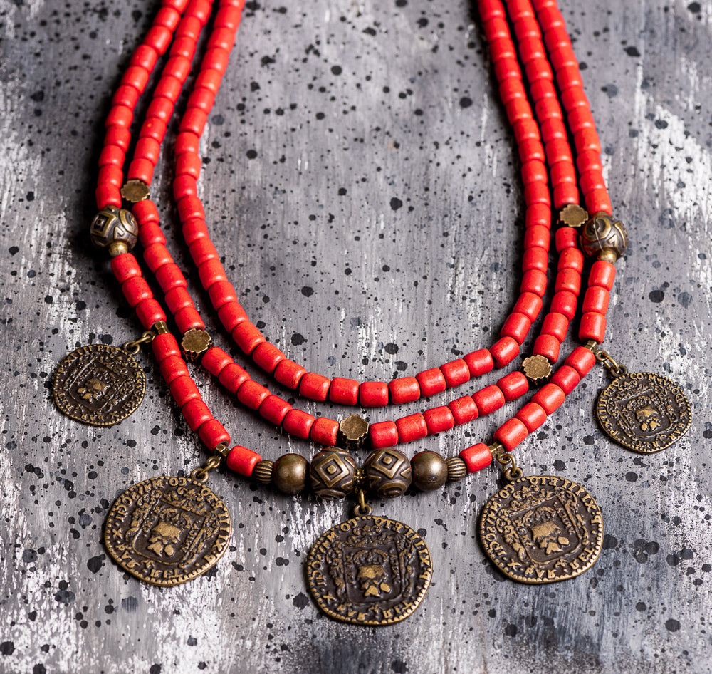 Ethnic coin clay necklace - 2