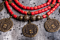 Ethnic coin clay necklace - 3