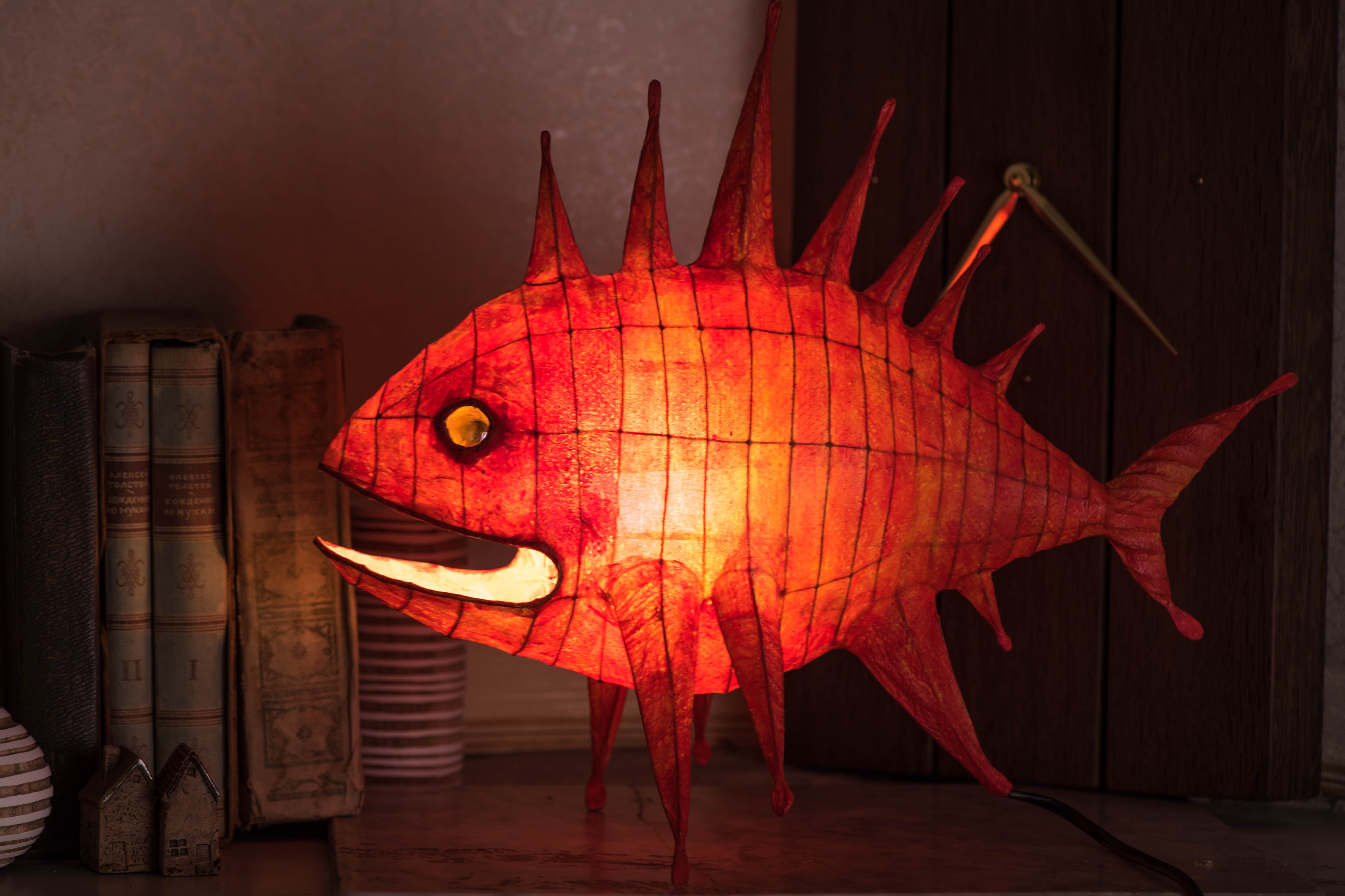 "Paper mache lamp ""Sea dragon"" - 4"