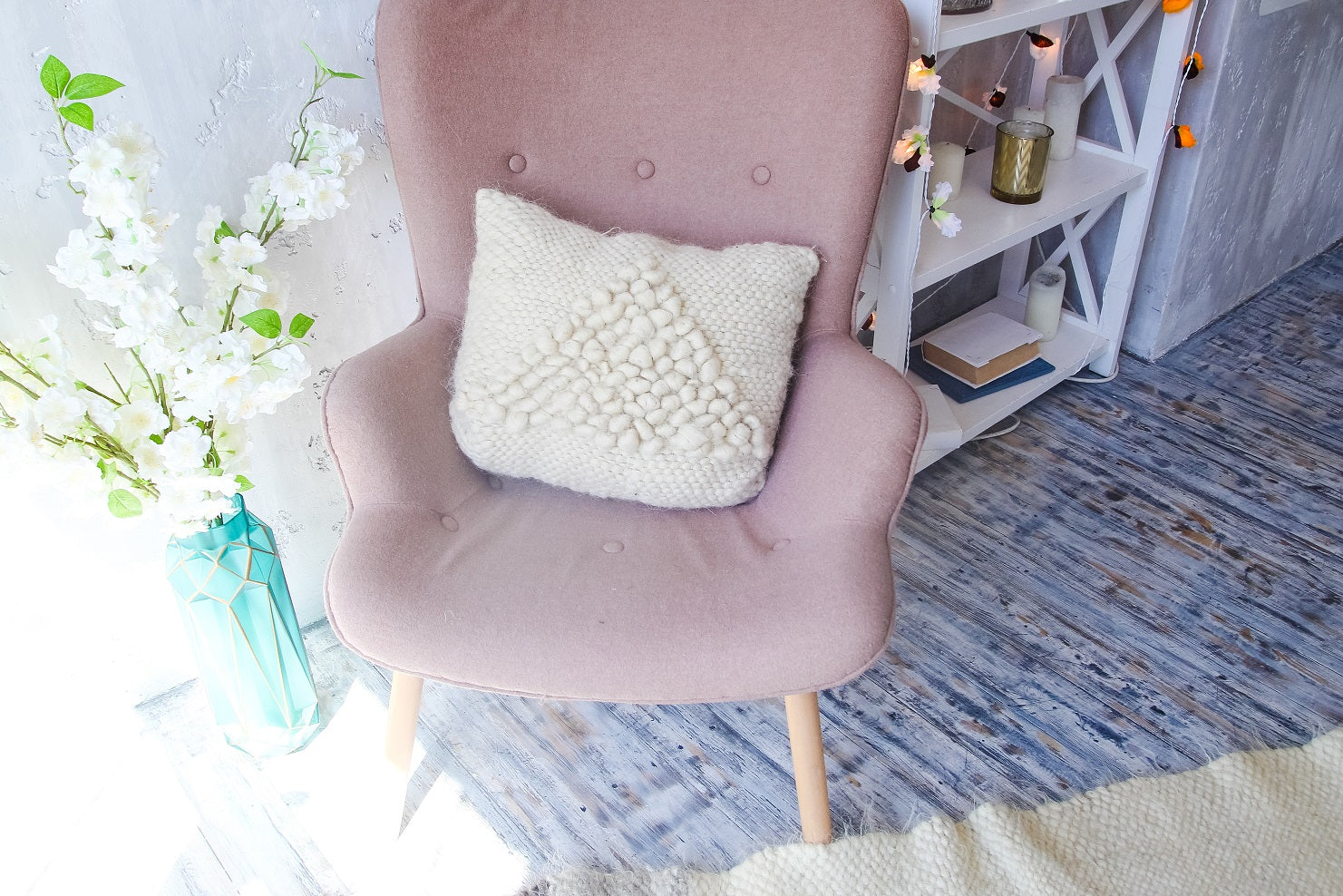 White decorative pillow ''Soft triangle'' - 3