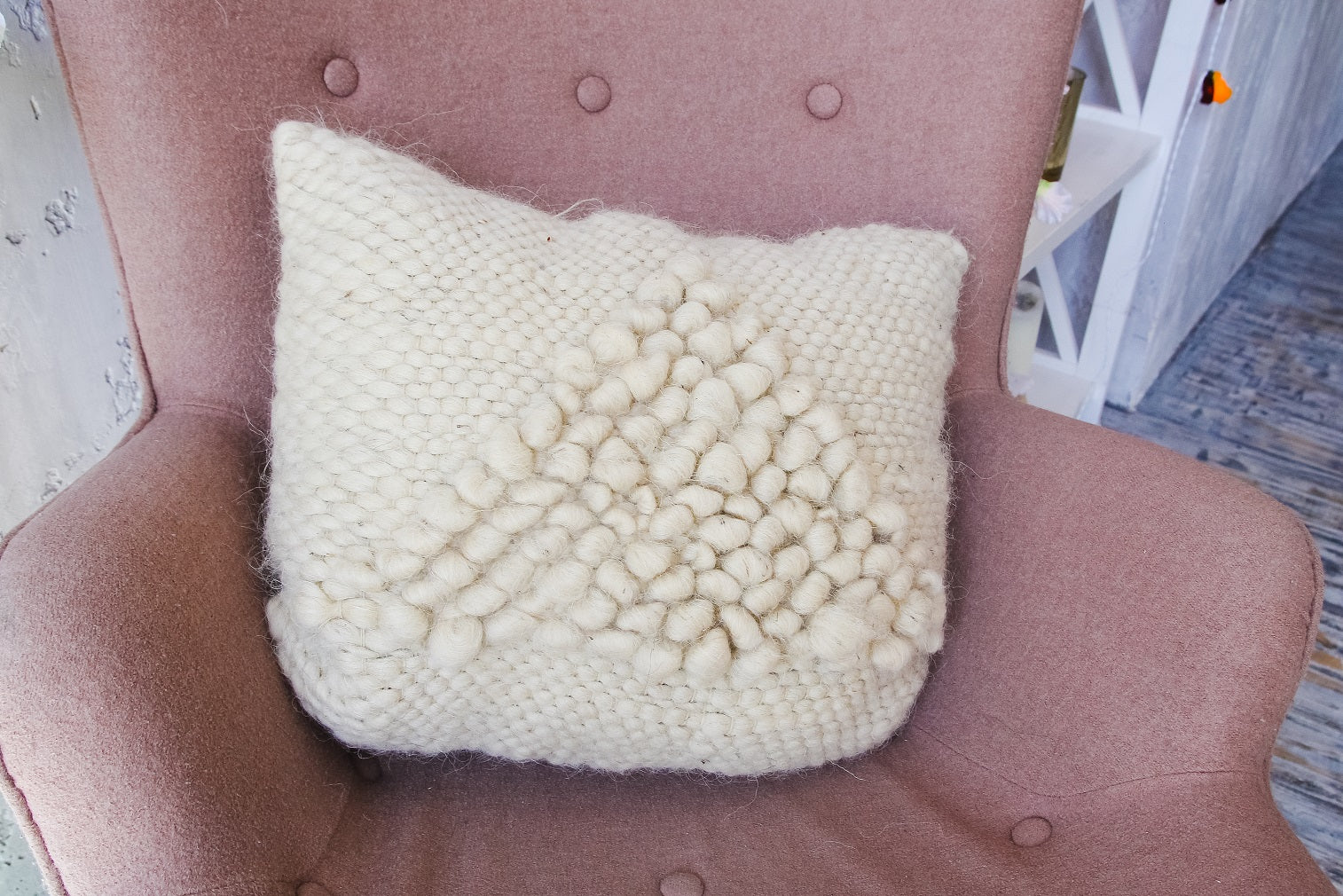 White decorative pillow ''Soft triangle'' - 4