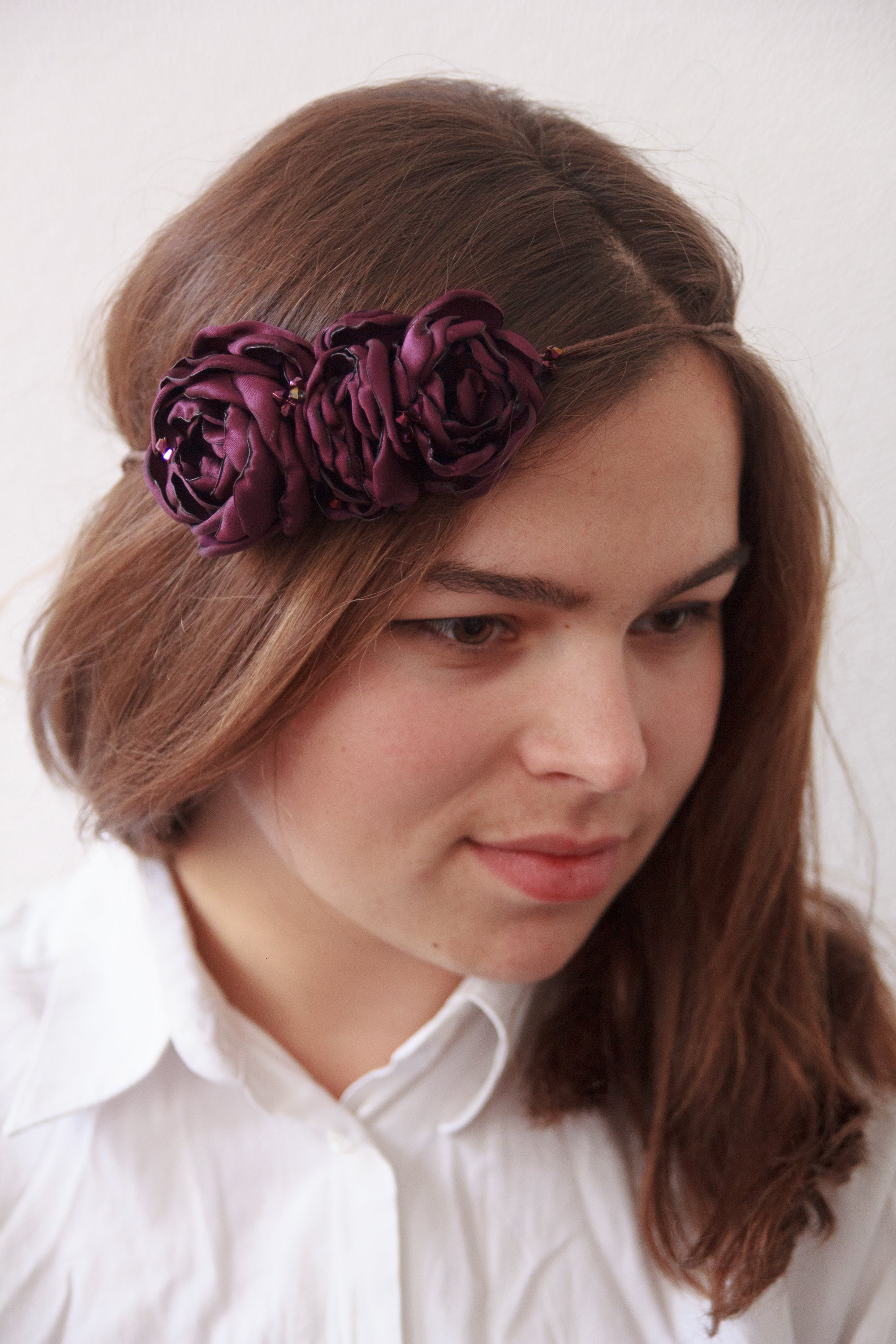 "Flower headband ""Purple roses"" - 1"