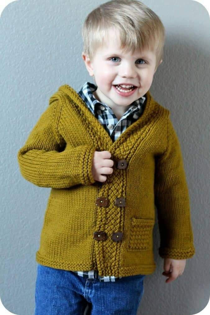 Baby boy knit hooded sweater - 1