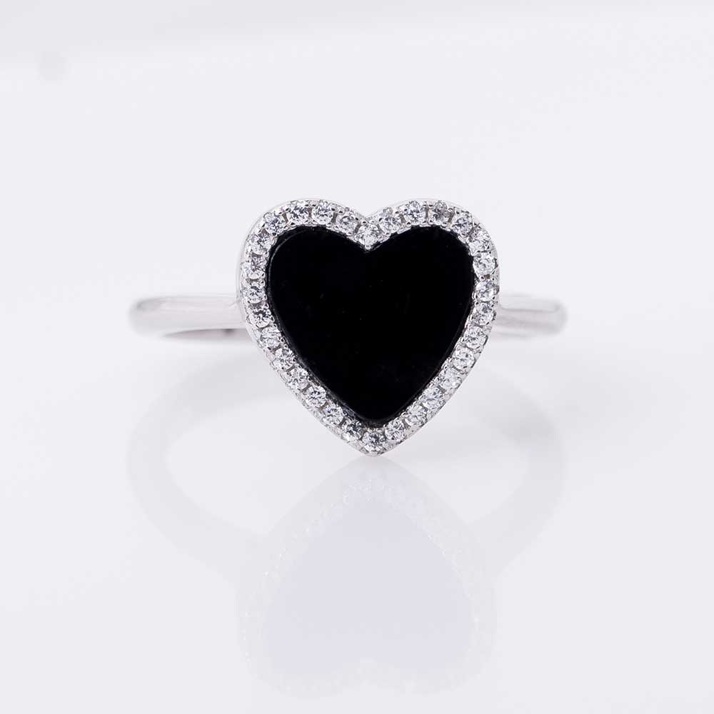 Silver ring with black heart - 2