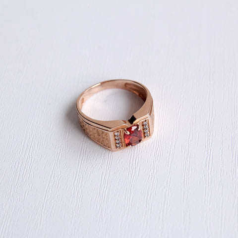 red cubic zirconia gold ring