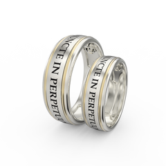 Gold engraved ring band set - 1