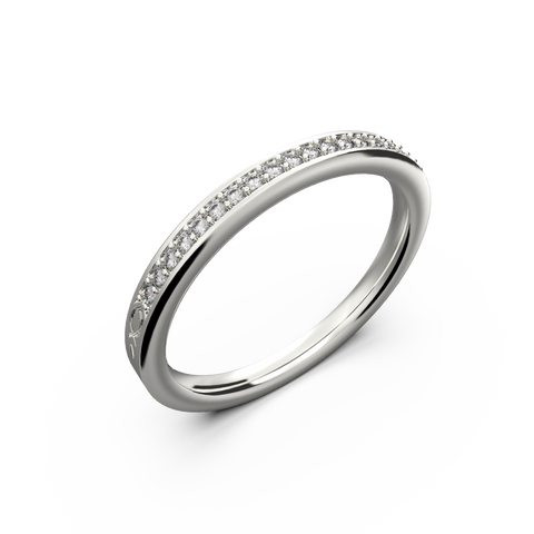 Gold diamond row wedding band for her