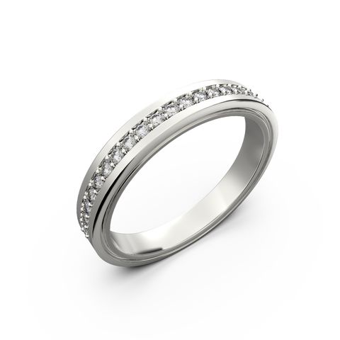 Womens diamond wedding band in white gold 0,164 carat