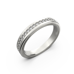 Womens diamond wedding band in white gold 0,164 carat - 1