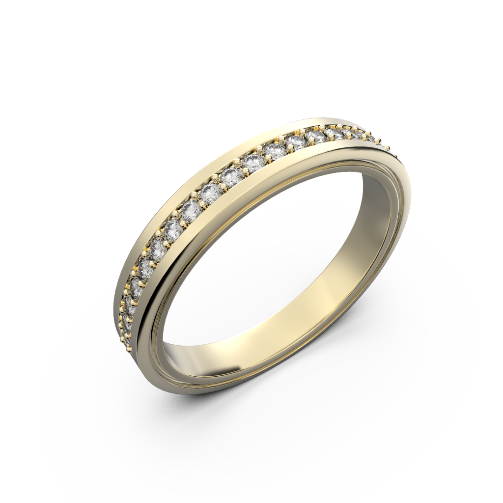Womens diamond wedding band in yellow gold 0,164 carat - 1