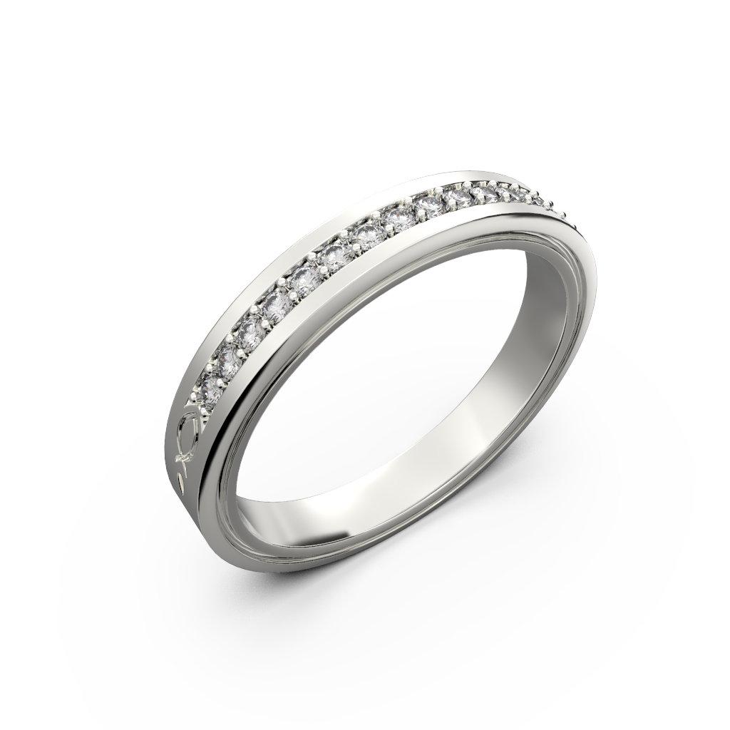Gold and diamond wedding ring for her - 1