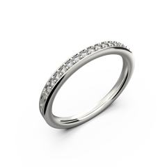 Ladies gold row diamond wedding ring - 1