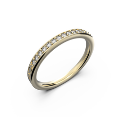 Ladies gold row diamond wedding ring - 4