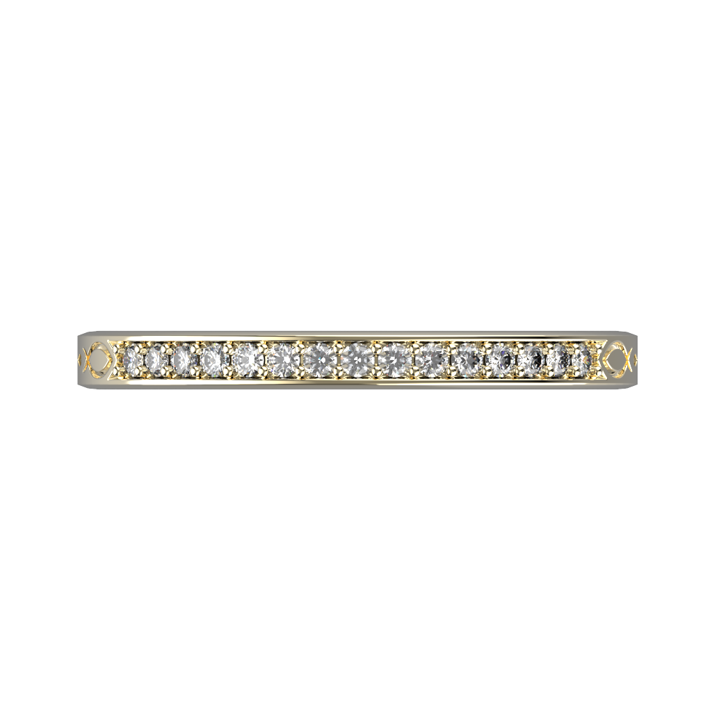 Ladies gold row diamond wedding ring - 6