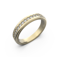 Womens wide gold wedding band - 4