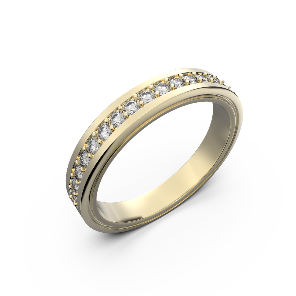 Diamond wedding band for women in yellow gold 0,235 carat - 1