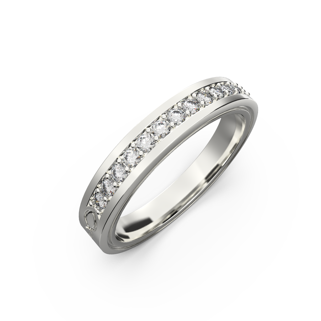Wide diamond wedding band 0,161 carat - 7