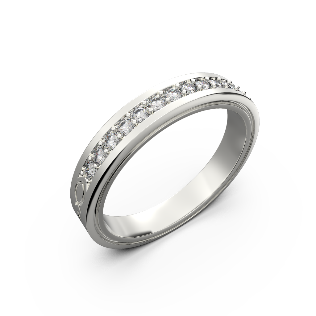 Wide diamond wedding band 0,161 carat - 1