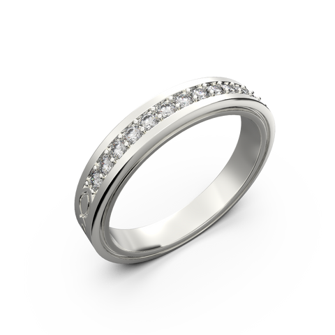 Wide diamond wedding band 0,161 carat