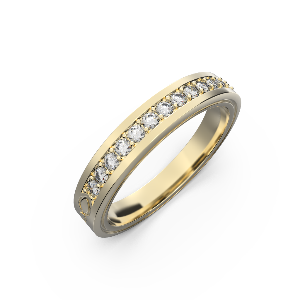 Wide diamond wedding band 0,161 carat - 8