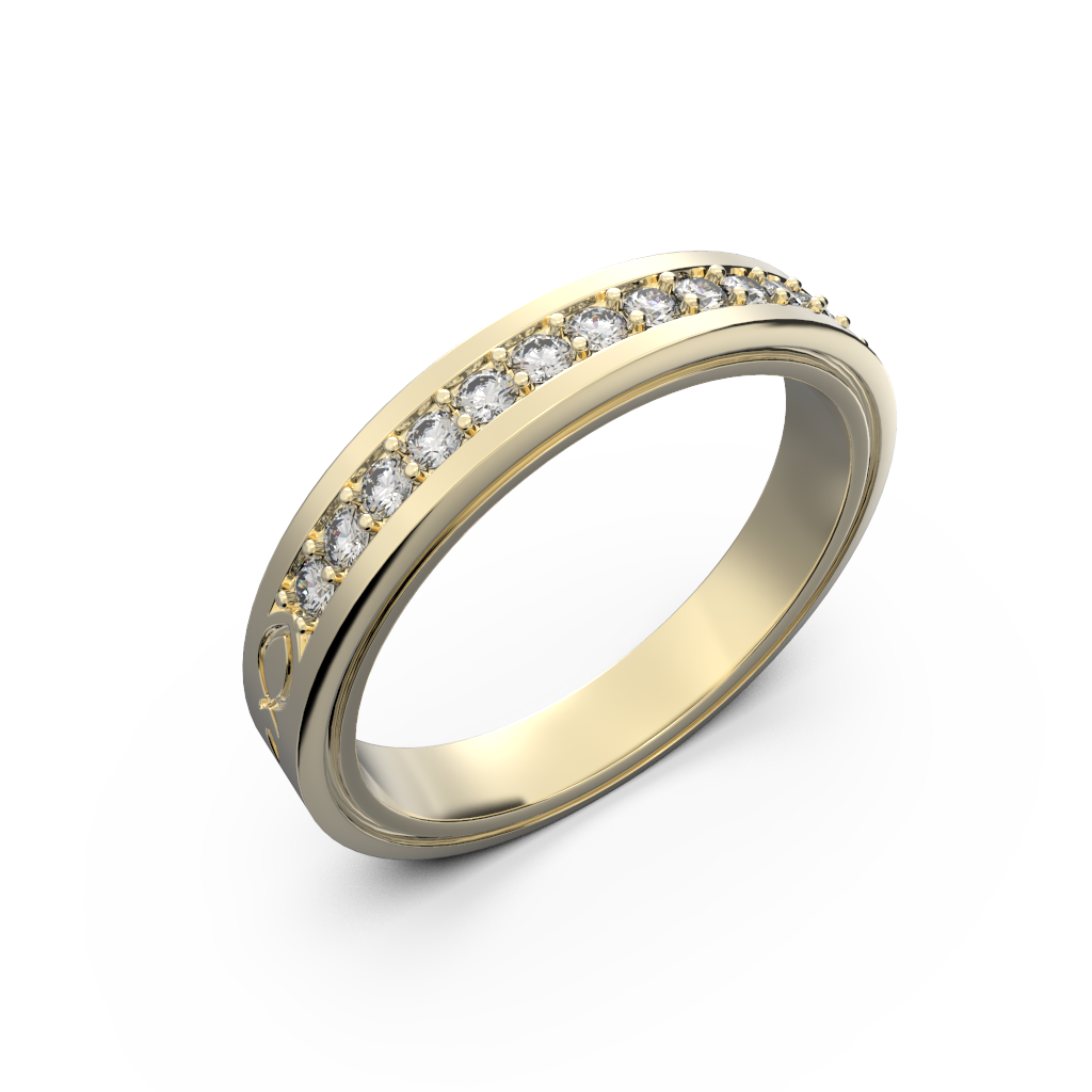 Wide diamond wedding band 0,161 carat - 4