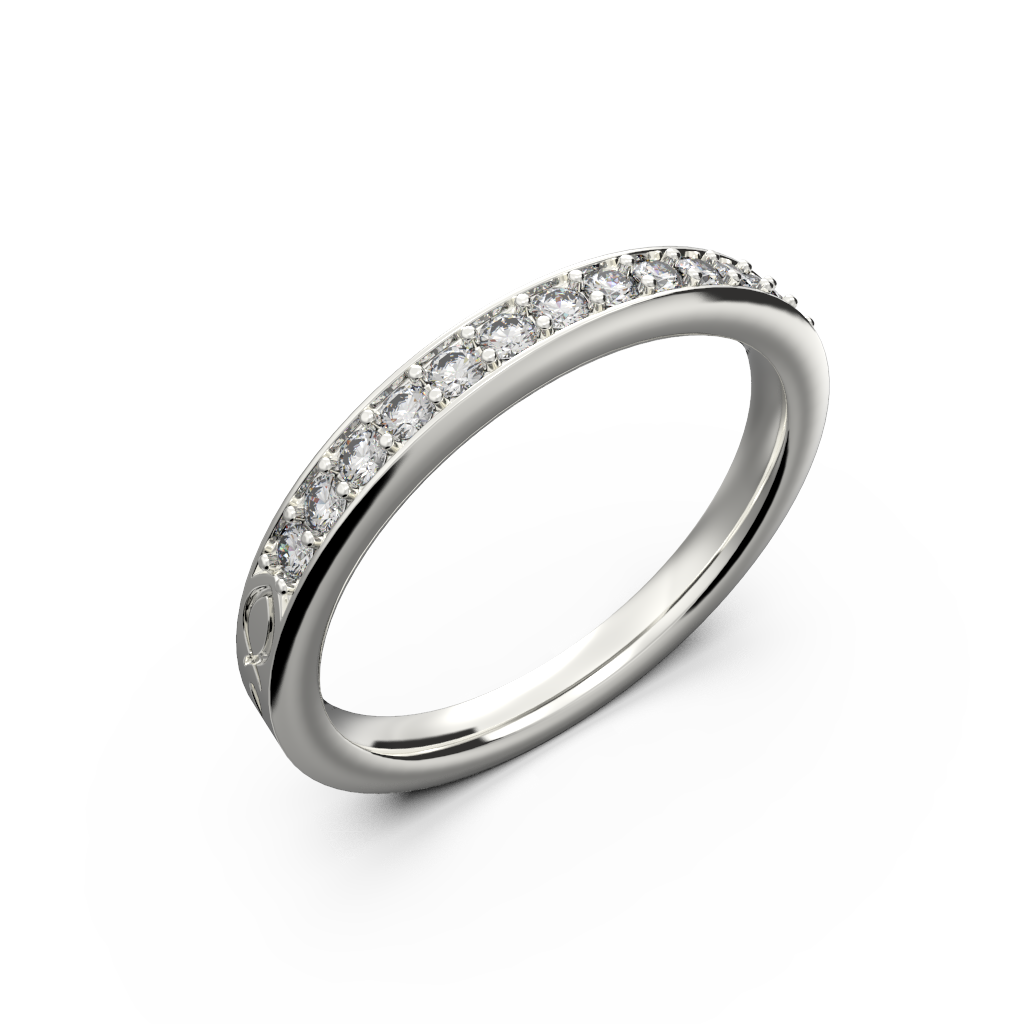 White gold diamond wedding band for her 0,161 carat - 1