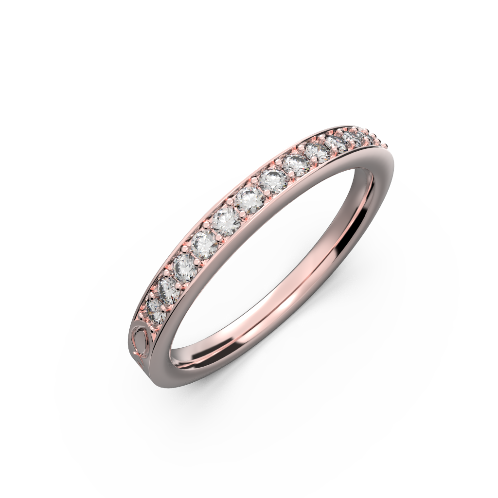 Rose gold diamond wedding band for her 0,161 carat - 1