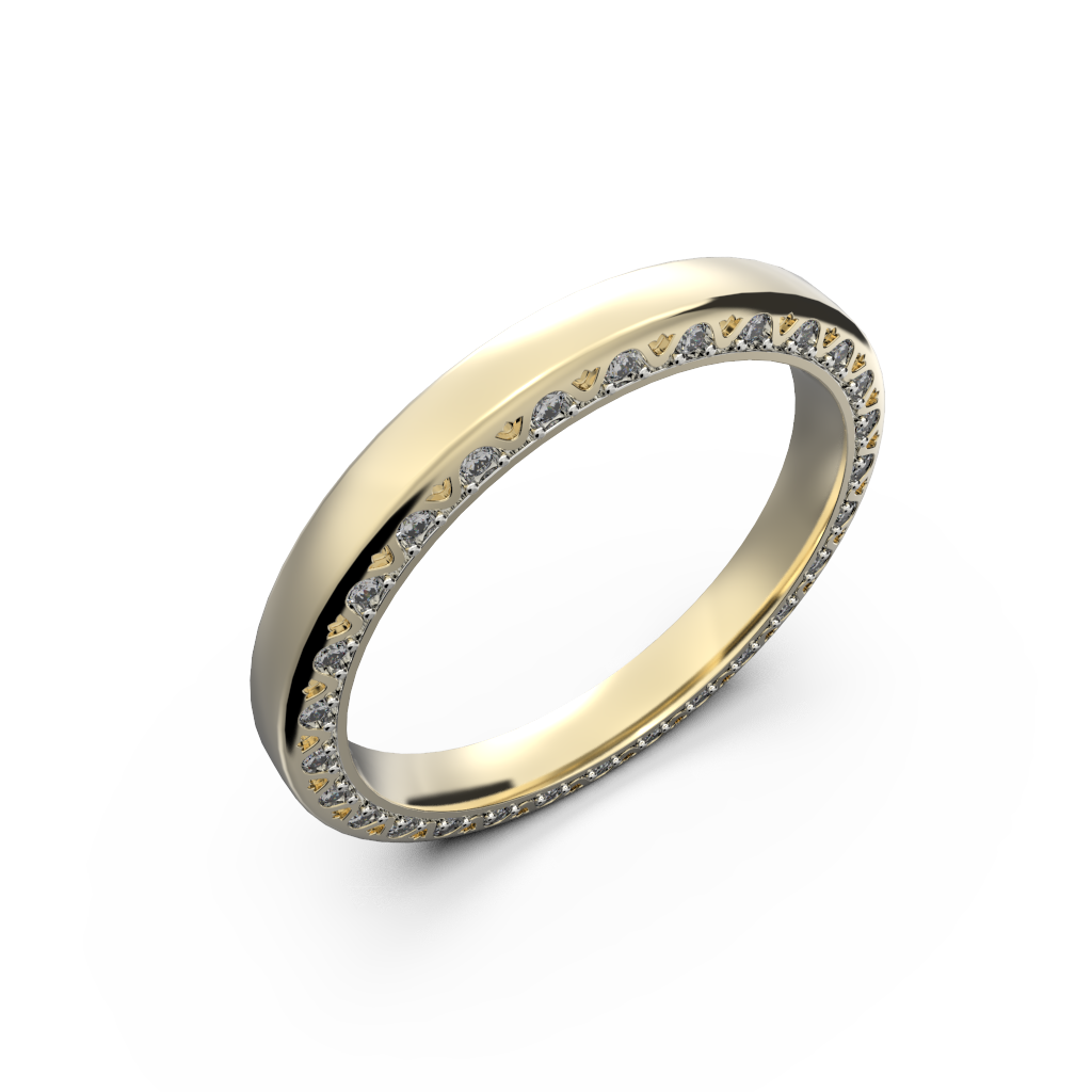 Yellow gold diamond wedding band for her 0,224 carat - 1
