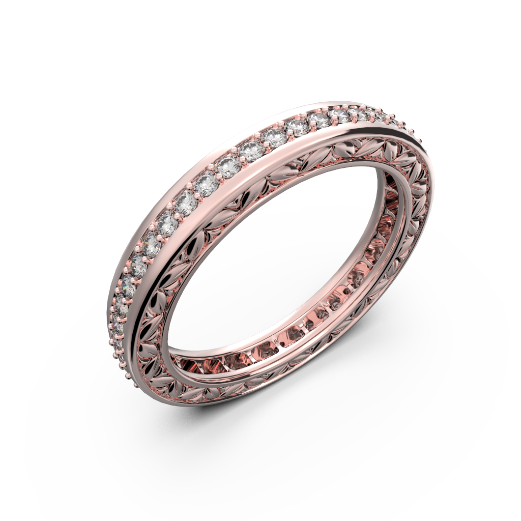 Rose gold and diamond wedding band for women - 1